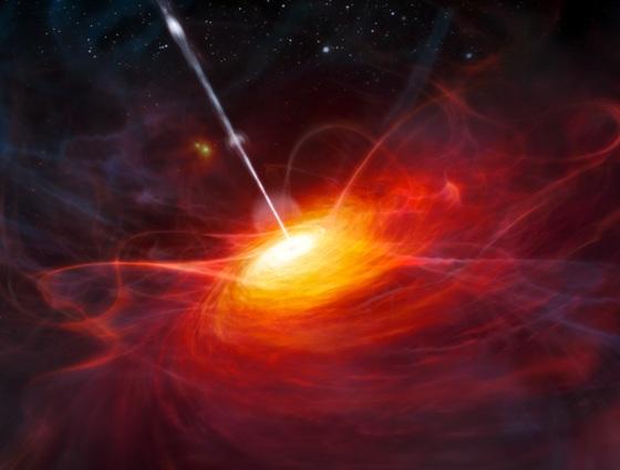 Художественное изображение квазара