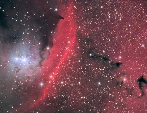 Пространство между звездами в центре туманности NGC 6559 пронизано ярко светящимся газом