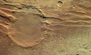 """Crater in Acheron Fossae"""